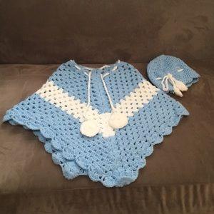 Girls Handmade crochet poncho and hat set